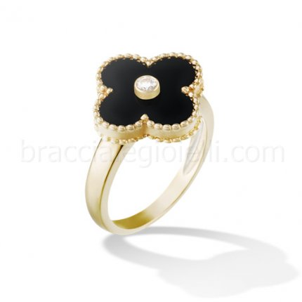 replique Van Cleef & Arpels Vintage Alhambra or jaune bague diamant onyx