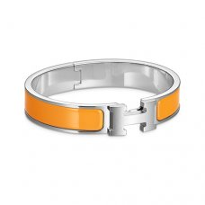 fake Hermes narrow clic H white gold bracelet orange enamel