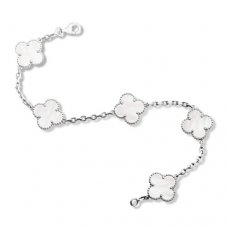 replica Van Cleef and Arpels Alhambra white MOP 5 motifs white gold bracelet