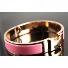 replica Hermes pink gold bracelet with pink enamel