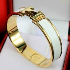 fake Hermes narrow clic H yellow gold bracelet with white enamel