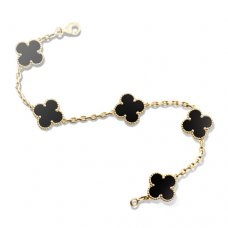 replica Van Cleef and Arpels Alhambra onyx 5 motifs yellow gold bracelet